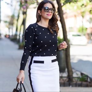 Worth New York Black Sweater with Pearls S